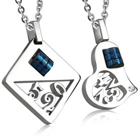 Jewelworx 2-Tone 2-Piece Combination Love Heart Square Couple Pendant With Clear Cubic Zirconia