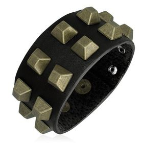 Jewelworx Genuine Black Leather With Gold Color Square Stud Snap Bracelet.