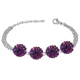 Jewelworx 10Mm Stainless Steel Argil Disco Shamballa Bead Ball Link Chain 3-Strand Bracelet With Lavender Cubic Zirconia