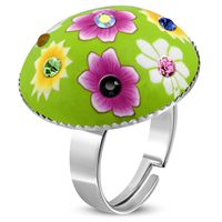 Jewelworx Costume Jewellery Fashion Alloy Fimo & Polymer Clay Flower Circle Ring With Colourful Cubic Zirconia