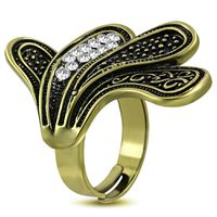 Jewelworx Costume Jewellery Fashion Alloy Spiral Leaf Vine Adjustable Fancy Ring With Clear Cubic Zirconia