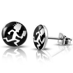 Jewelworx 10Mm  Stainless Steel 3-Tone Hatchet Man Circle Stud Earrings Pair