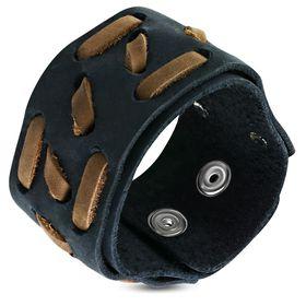 Jewelworx 2-Tone Genuine Black Leather Weave Snap Wristband Bracelet