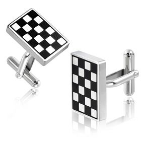Jewelworx Stainless Steel 2-Tone Grid/Checker Rectangle Cufflinks Pair