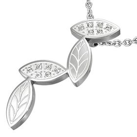 Jewelworx Stainless Steel Leaves Pendant With Cubic Zirconia.