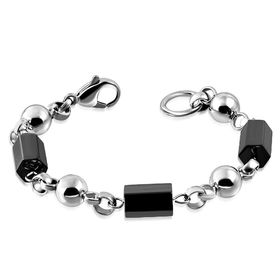 Jewelworx Stainless Steel 2-Tone Cylinder Ball Rolo Link Chain Bracelet