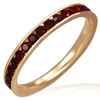 Jewelworx Rose Pink Gold Color Plated Stainless Steel Channel Set Eternity Comfort Fit Band Ring With Channel Set Light Siam Red Cubic Zirconia