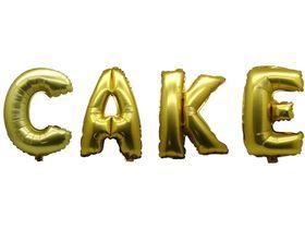 """Bright Gold Foil Letter Balloon 40"""" - Cake"""