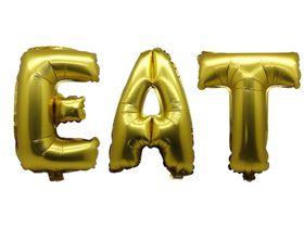"Bright Gold Foil Letter Balloon 40"" - Eat"