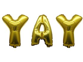 """Bright Gold Foil Letter Balloon 40"""" - Yay"""