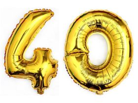 "Bright Gold Foil Number Balloon 40"" - Milestone Birthday 40"