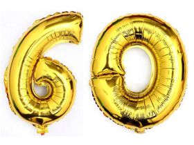 "Bright Gold Foil Number Balloon 40"" - Milestone Birthday 60"