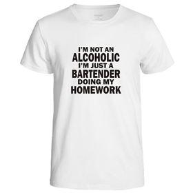 I'M Not An Alcoholic, I'm A Bartender Doing My Homework Men's T-Shirt - White