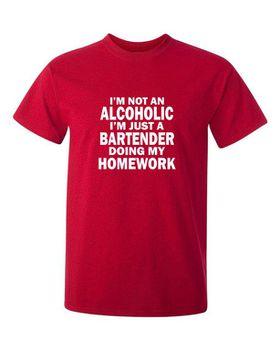 I'M Not An Alcoholic, I'm A Bartender Doing My Homework Men's T-Shirt - Red