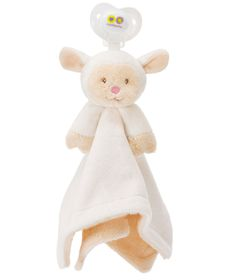 Nookums Paci-Plushies Blankies Pacifier Holder - Lovie Lamb Plush Blankie