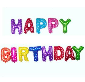 Happy Birthday Foil balloons - Colourful (Letters)