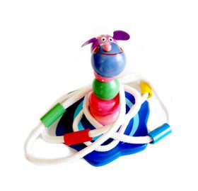 Stackable Wooden toy with toss ropes - Hippo