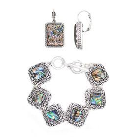 TLSET067 Silver Plated Link Fob Chain Bracelet Set