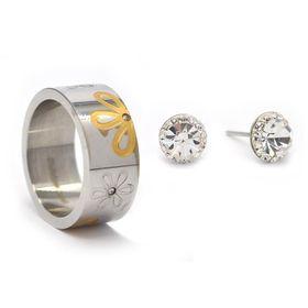 TLSET072 Stainless Steel Flower Design Ring