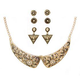 Lily & Rose TLSET074 Yellow Gold Plated Diamante & Floral Design Neckpiece