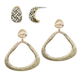 TLSET079 Yellow Gold Stylised Drop Triangular Earrings