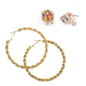 Lily & Rose TLSET080 Yellow Gold Plated Twisted Rope Hoop Earrings