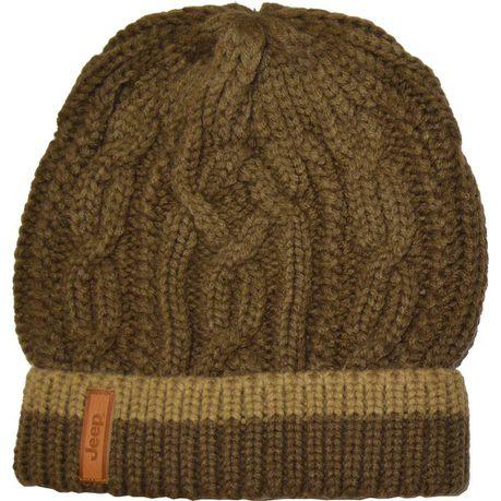 22717be3653 Jeep Cable Knit Beanie - Dark Brown   Khaki