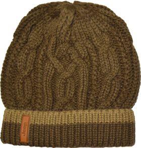 Jeep Cable Knit Beanie - Dark Brown & Khaki