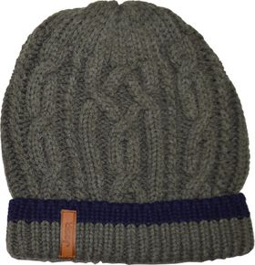 Jeep Cable Knit Beanie - Mid Grey / Navy