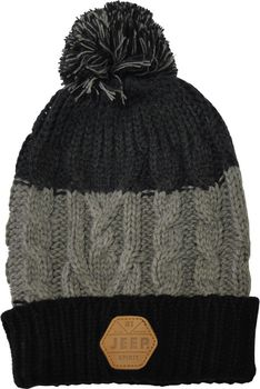 Jeep Spirit Chunky Knit Pompom Beanie - Black/Grey/Light Grey