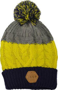 Jeep Spirit Chunky Knit Pompom Beanie - Grey/Blue/Yellow