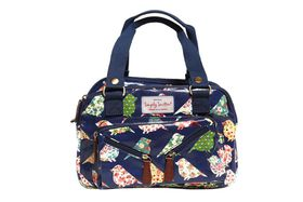 3 Compartment Handbag - Navy Floral Bird