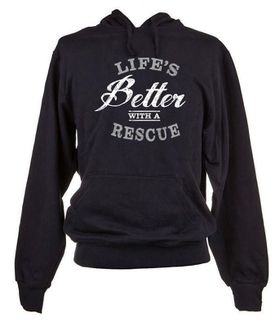Life's Better with a Rescue Unisex Hoodie Top - Black