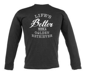 Life's Better with a Golden Retriever Unisex Long Sleeve T-Shirt - Black