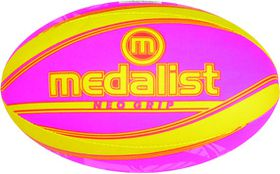Medalist Neo Grip Rugby Ball Size 5 - Yellow/Pink