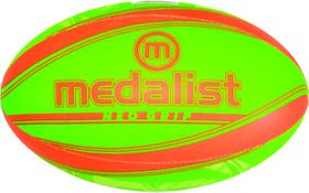 Medalist Neo Grip Rugby Ball Size 5 - Green/Orange