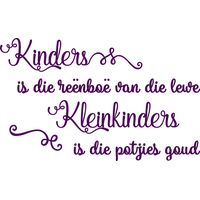Vinyl Lady Decals Kinders is die Reenboe van die Lewe Afrikaans Quote Wall Art Sticker - Purple