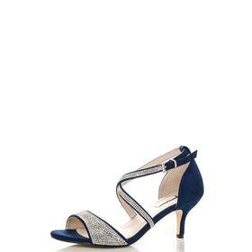 Quiz - Navy Diamante Low Heel Sandals