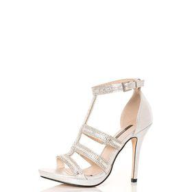 Quiz - Silver Diamante Strap Sandals