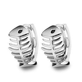 Treasures Elegant Fish Bone Hoop Earrings