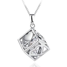 Treasures Beautiful Cube Square Necklace
