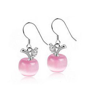 Treasures Beautiful Opal Apple Pendant Earrings