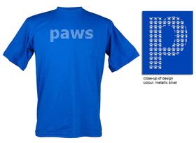 Paws Design, Unisex Fit Short Sleeve T Shirt in Royal Blue