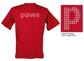 Paws Design, Unisex Fit Short Sleeve T Shirt in Red