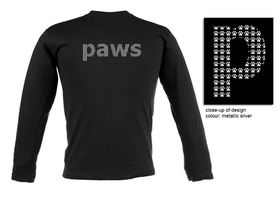 Paws Design, Unisex Fit Long Sleeve T Shirt in Black