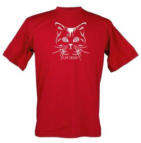 Cat Crazy Design, Unisex Fit Short Sleeve T Shirt in Red