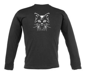 Cat Crazy Design, Ladies Slim Fit Long Sleeve T Shirt in Black