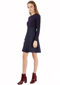 Closet London - 2 In 1 Navy Contrast Long Sleeve Skirt Dress