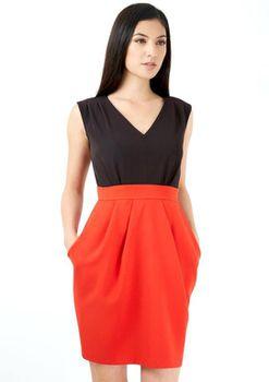 Closet London - 2 In 1 V Neck Contrast Red Tulip Skirt Dress