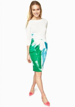 Closet London - 2In1 Bodycon White/Printed Draped Dress